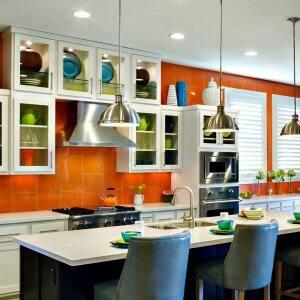orange kitchen backsplash