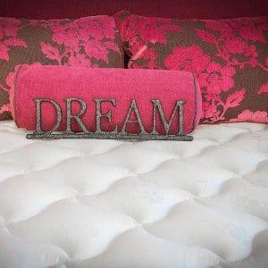 Mattress with a pink dream pillow