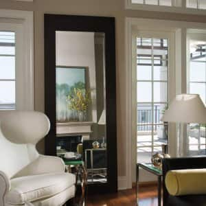 mirror, living room, downtown living