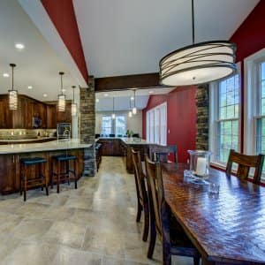 modern light fixtures in kitchen