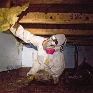 Worker in mask in crawl space