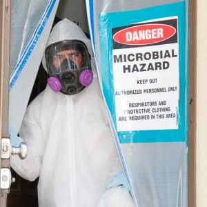 mold remediation contractor secures home