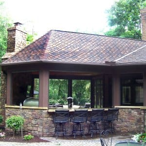 outdoor kitchen and living space
