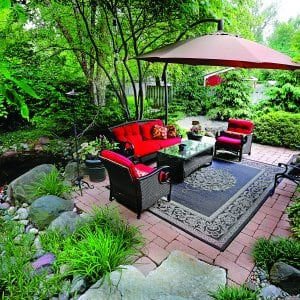 outdoor furniture on paver patio