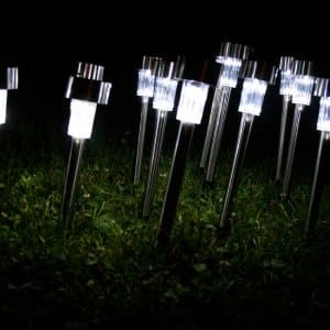 A group of solar-powered lights