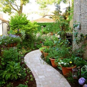 paver walkway in landscaped yard