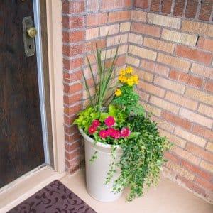 garden planter on porch