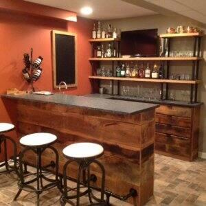 bar made from reclaimed barn wood