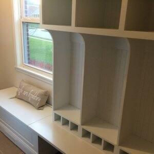 white mudroom cabinets