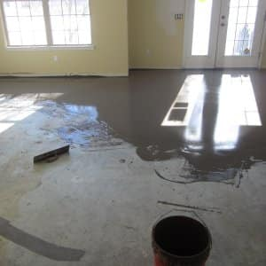 Self-leveler applied to concrete floor