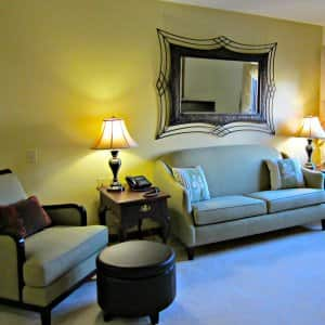 comfortable living room in senior community