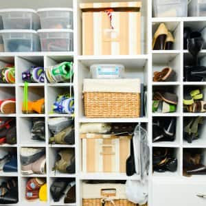 A Neat Shoe Closet With Organizers