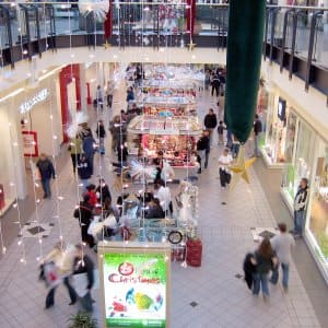 shopping mall during the holidays