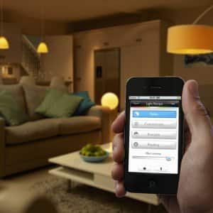 smart home lighting with smartphone