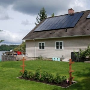 Solar panels on top of a house