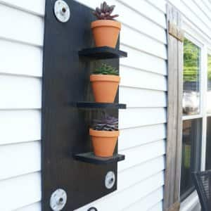 succulent wall planter on home exterior