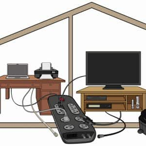 Whole-house surge protector illustration