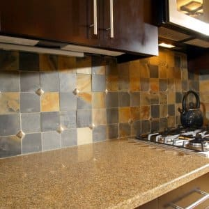 slate tile backsplash in kitchen