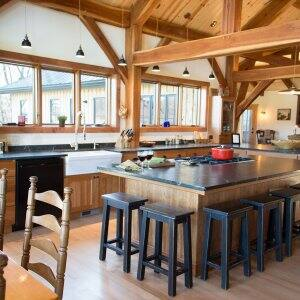 rustic timber frame house kitchen