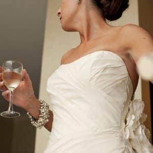 woman in vintage wedding dress