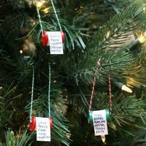 DIY Christmas ornaments on tree