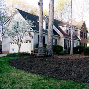 Large mulch bed with trees in front of a two-story home