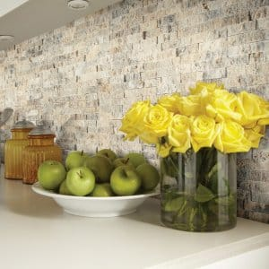 A winter storm is a perfect time to work on some DIY projects, like installing a backsplash. (Photo courtesy of Shaw Floors)