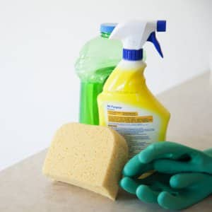 house cleaning, sponge, rubber gloves, cleaning supplies