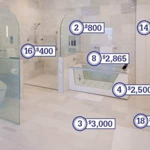 A price breakdown for this $68,000 bathroom remodeling project.