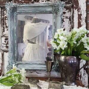 glazed mirror over vintage looking vanity