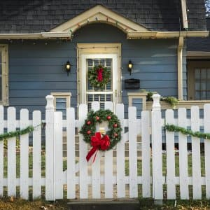 Holiday decorations on home exterior