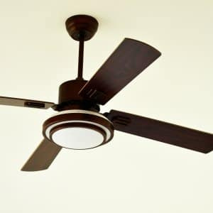 Modern Ceiling Fan With Rubbed Bronze Hardware And Dark Wood Blades On Off White