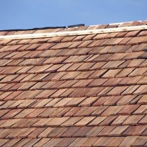 Close up of New Red Cedar Shake Roof.