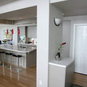 White kitchen and home entryway