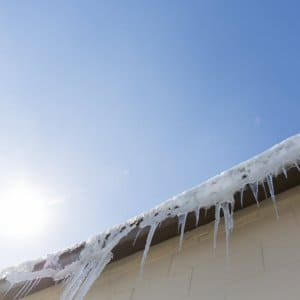 Icicles hanging from a roof