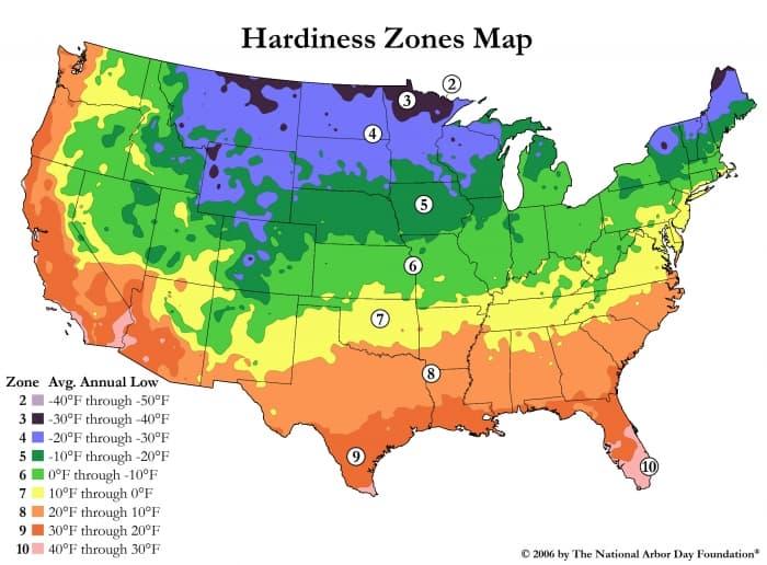 tree hardiness zone map
