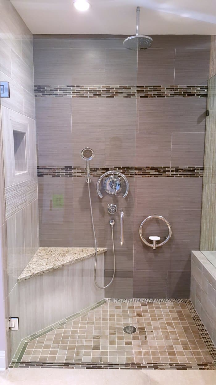 walk-in shower with round grab bars