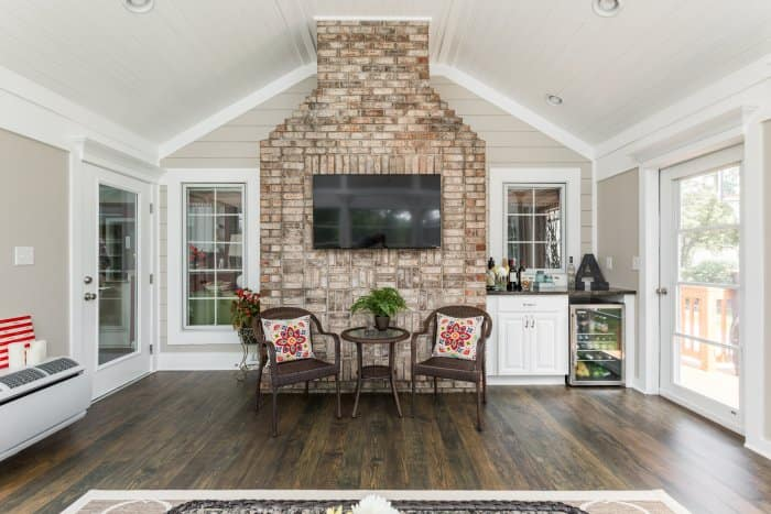3-season room remodel, fireplace
