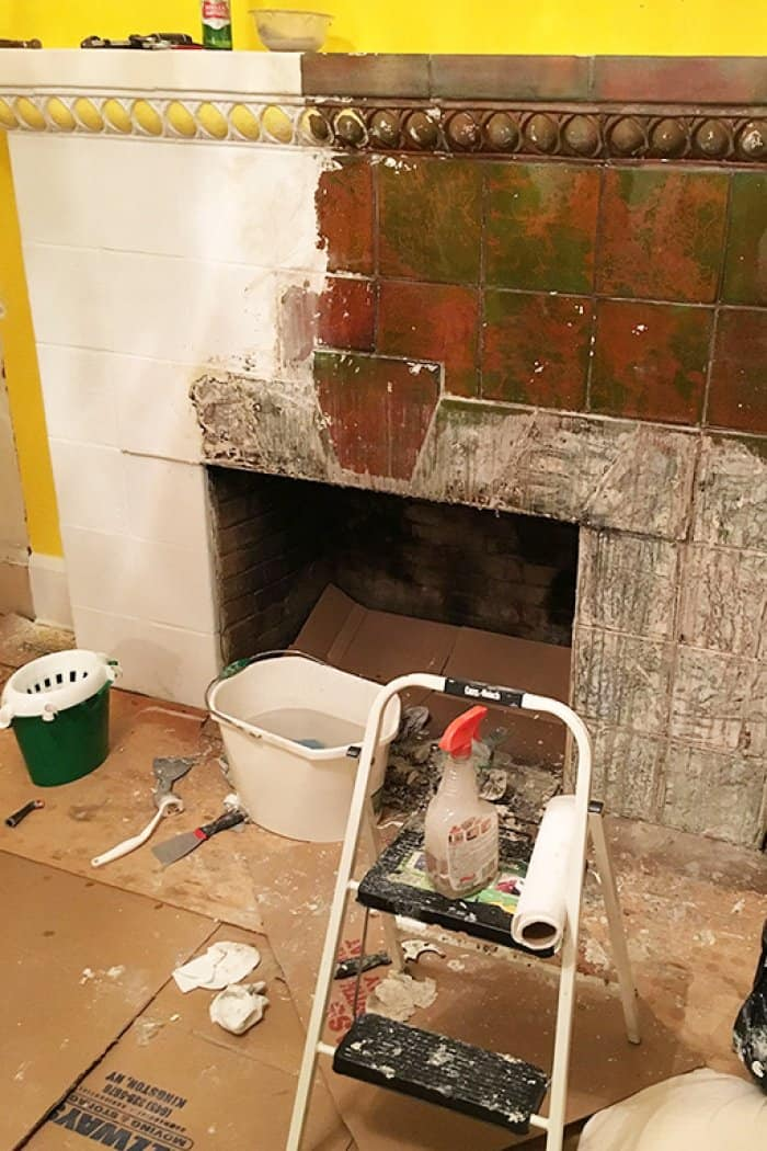 fireplace paint stripping in process