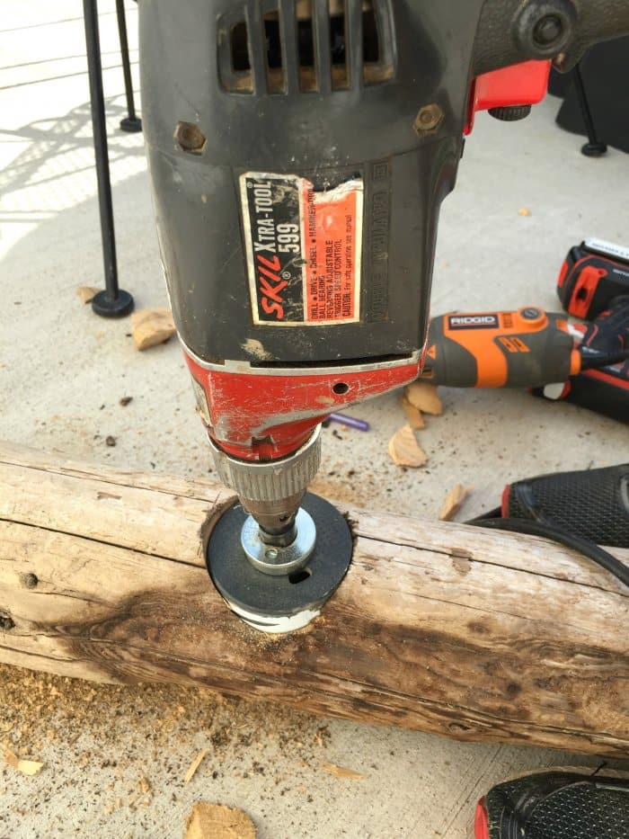 hole saw drilling driftwood