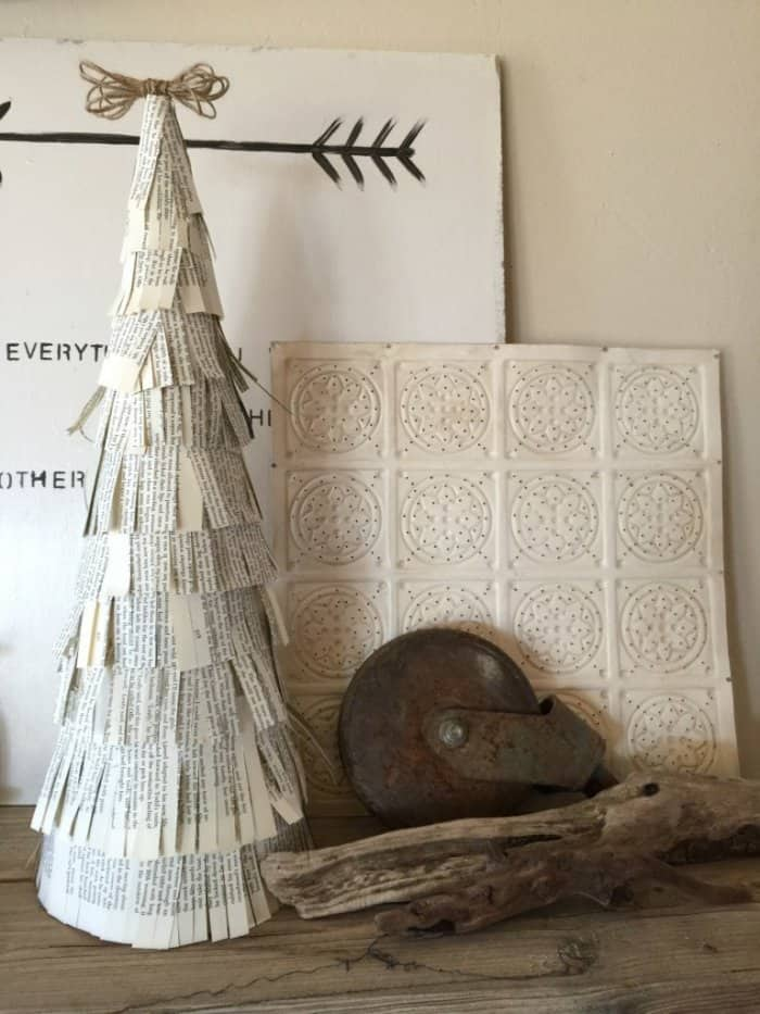 Make a Christmas tree from book pages. (Image courtesy of Twelve on Main)