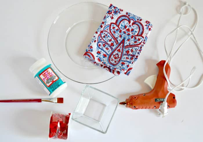 supplies for DIY cake stand