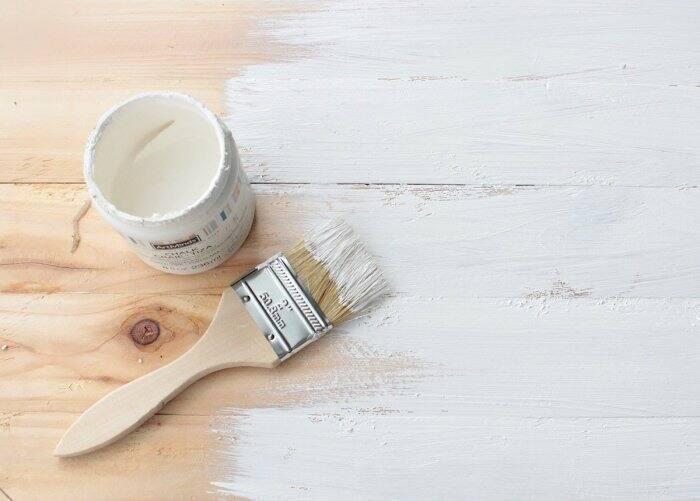 adding white chalk paint to custom wood sign