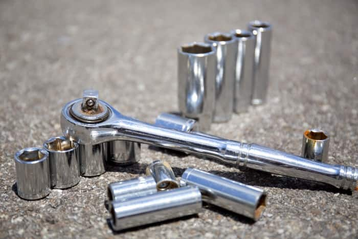 SAE socket set with ratchet for DIY projects (Photo by Eldon Lindsay)