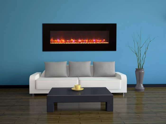mounted electric fireplace in modern living room