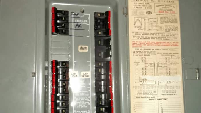 fpe circuit breakers with red strip across the switch