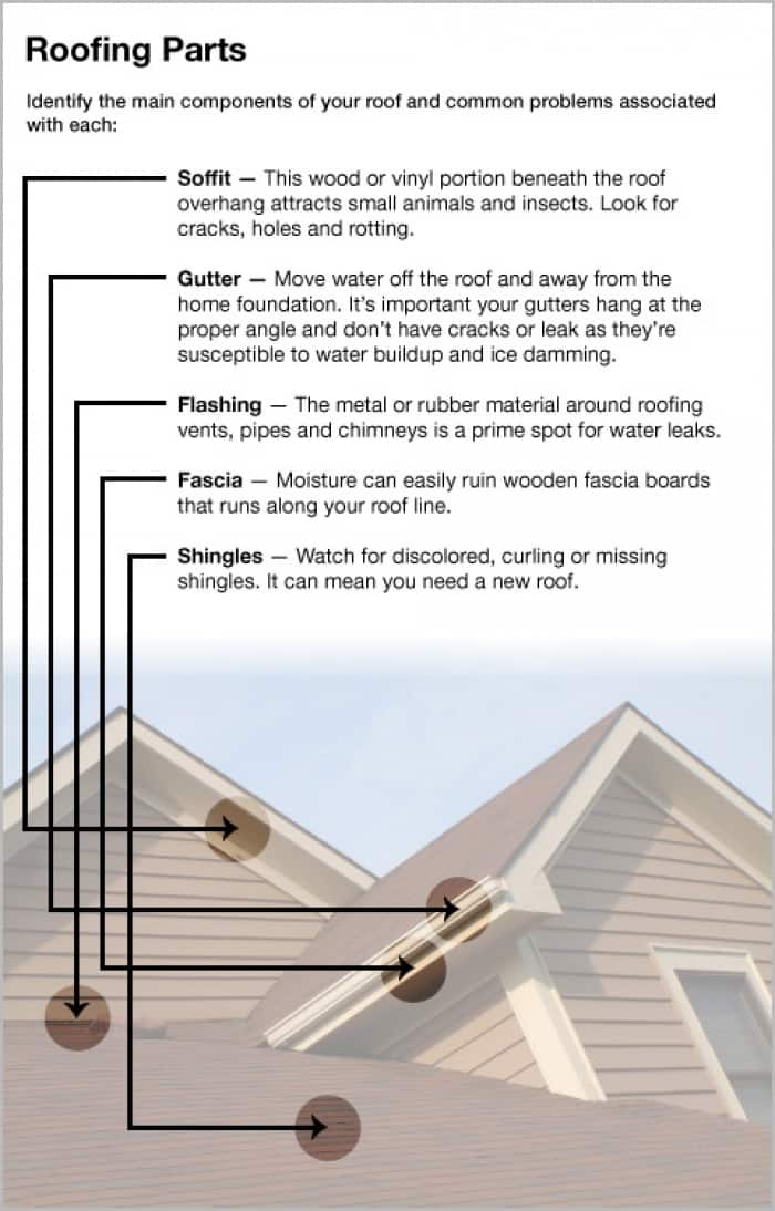 diagram of roofing parts and common problems