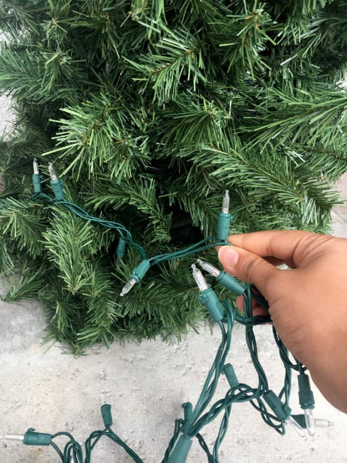 Add some lights and any other decor to your DIY Christmas tree to complete the look. (Photo by Melissa Riker/The Happier Homemaker)