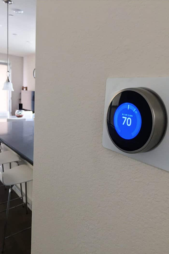 programmable thermostat on wall