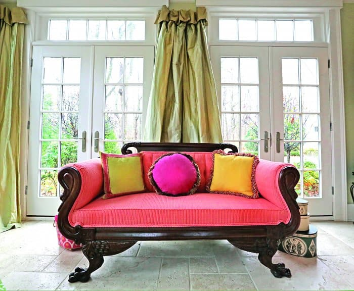 settee in sunroom